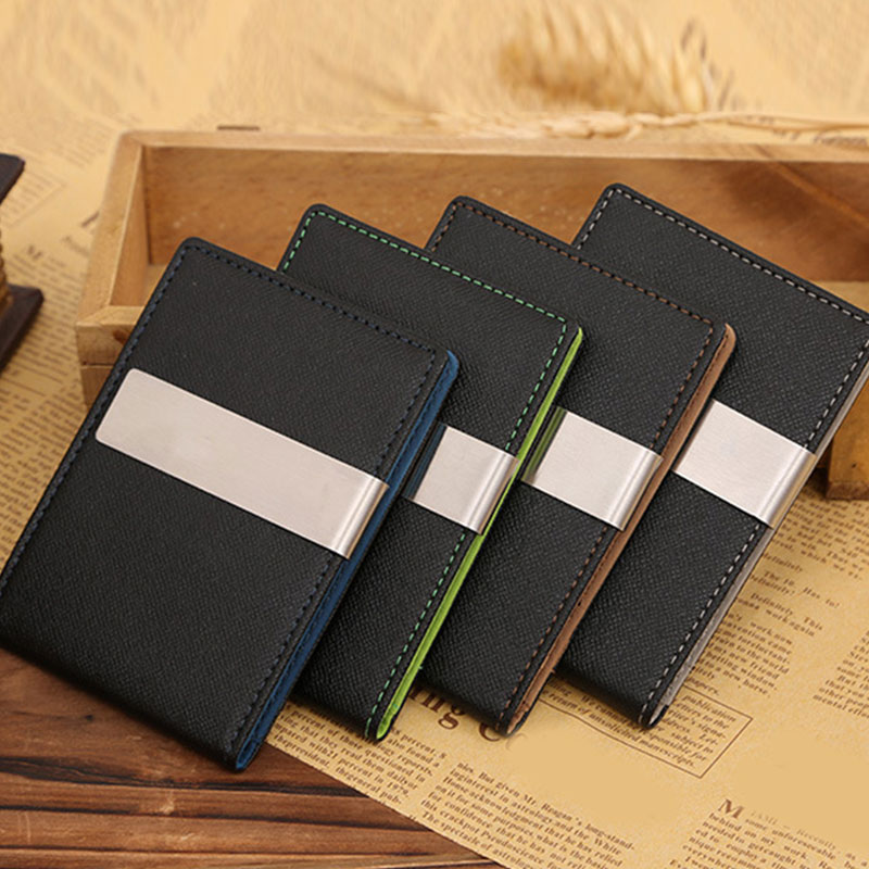 Fashion Thin Men's Small Wallet Business PU Leather Magic Wallets High Quality Mini Clip Wallet Coin Purse Credit Card Holder