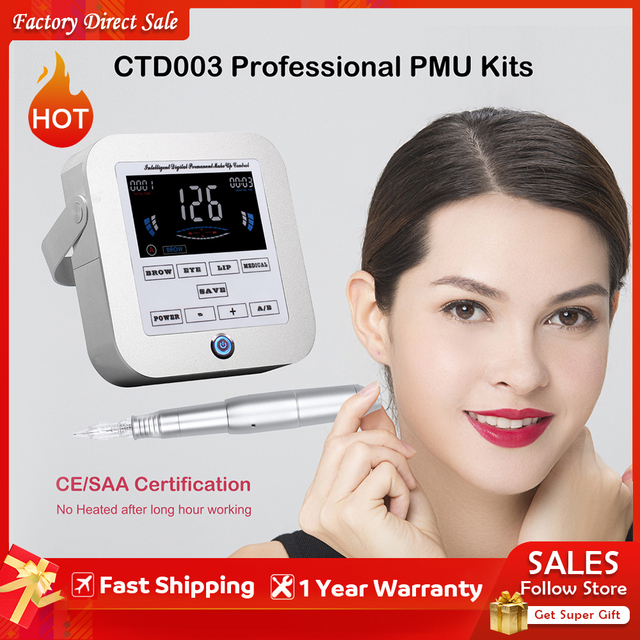Kit de Machine de maquillage Permanent (CTD003), avec aiguilles, pour sourcils, eyeliner, lèvres, stylo rotatif numérique, pistolet