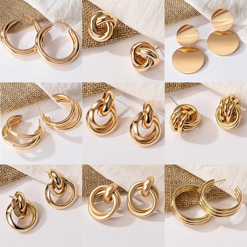 Новые богемные серьги из нержавеющей стали, модные золотые большие кольца, витые серьги для женщин, серьги в стиле панк, хип-хоп, ювелирные и...
