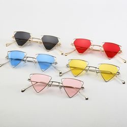 New High Quality Vintage Steampunk Triangle Sunglasses Women/Men Metal Retro Shades Sun Glasses Free Shipping