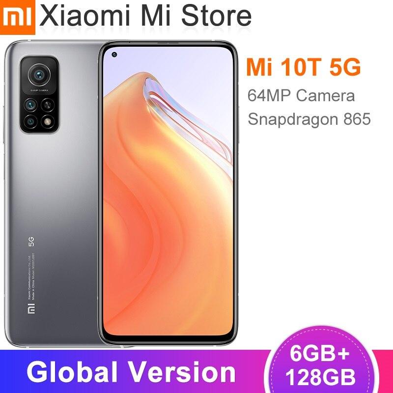 Глобальная версия Xiaomi Mi 10T 6 ГБ ОЗУ 128 ГБ ROM, Смартфон Snapdragon 865 Octa Core 144 Гц 64MP Автомобильная камера заднего вида 6,67