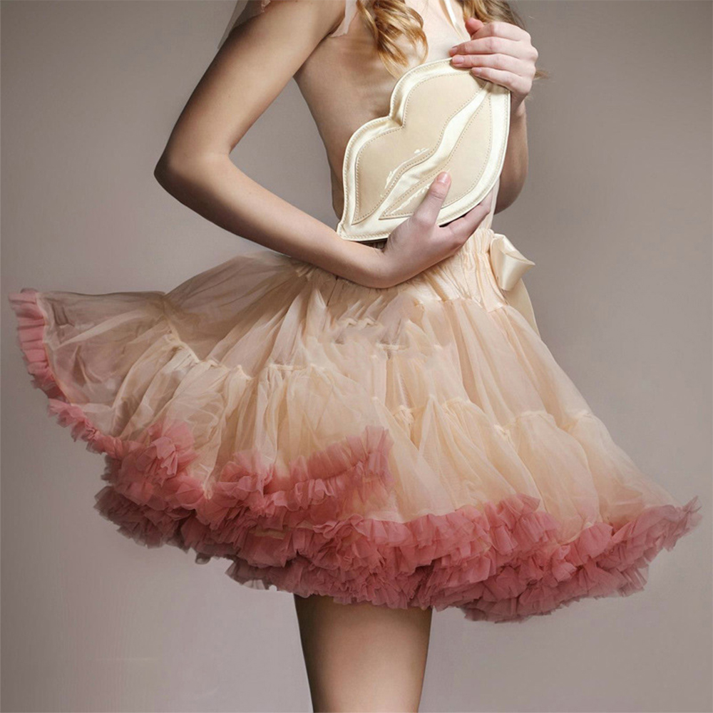 New Women European Adult Tulle Tutu Skirt Pleated Ruffle Cosplay Lolita Skirt Petticoat No-hoop Ribbon Soft Crinoline Underskirt