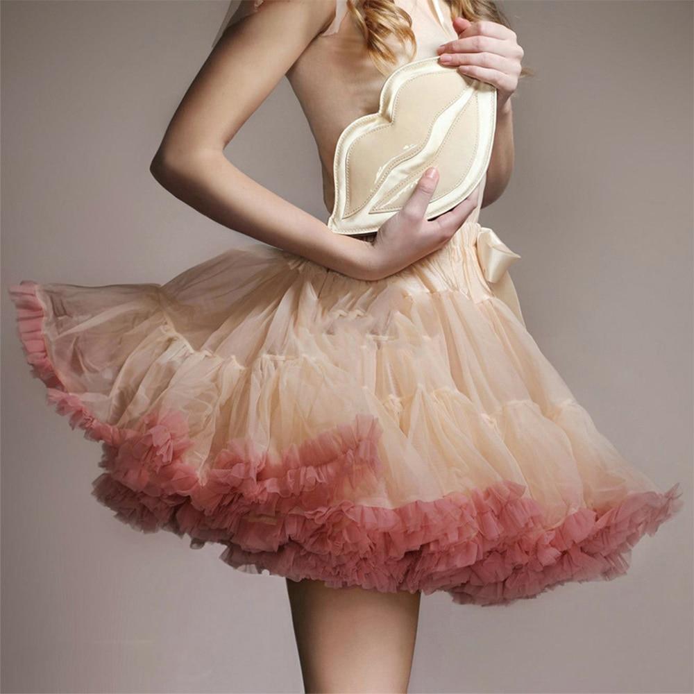 New Women European Adult Tulle Tutu Skirt Pleated Ruffle Cosplay Lolita Skirt Petticoat No-hoop Ribbon Soft Crinoline Underskirt