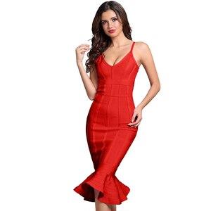 Image 4 - Seamyla New Summer Bandage Dress Pink Red Black Blue Mermaid Celebrity Party Dresses Women Elegant Vestidos Sexy Bodycon Dress