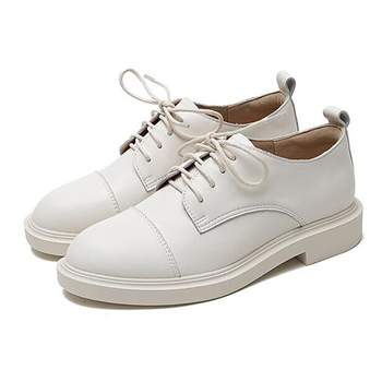 2020 flats ladies shoes loafers women off white harajuku shoes Split Leather Derby Shoes Dress Lace-Up Round Toe Spring/Autumn
