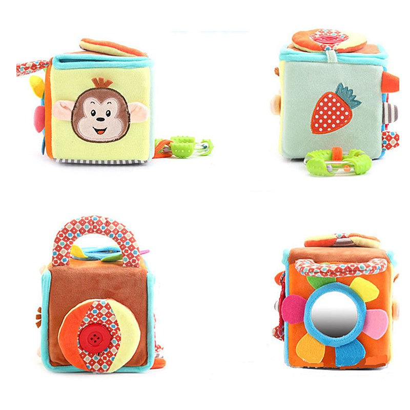 Baby Cloth Building Block Toy Box Infant Soft Rattle Early Educational Sensory Puzzle Baby Toy Plush Soft Cube For 0-12 Months