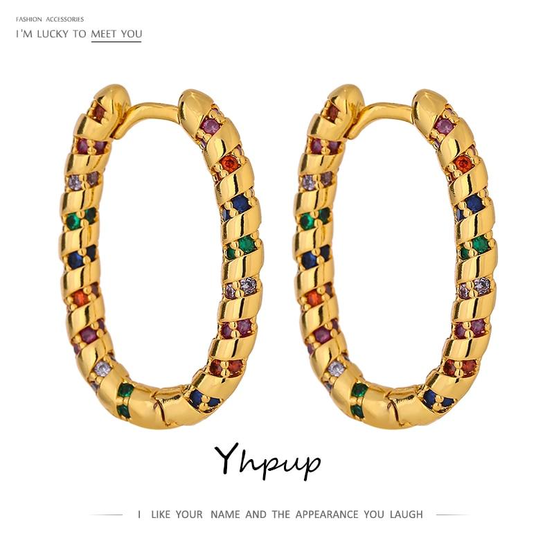 Yhpup Fashion Ellipse Rainbow CZ Hoop Earrings High Quality Cubic Zirconia Geometric Hollow Trendy Earrings for Women Gift 2021