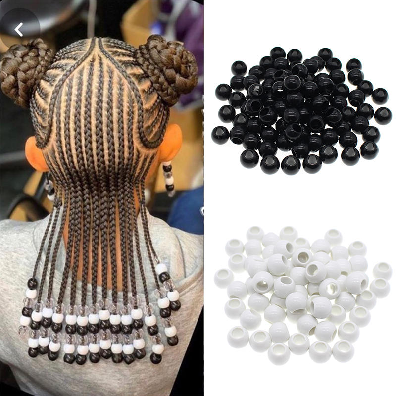 Dreadlock Beads Cuffs-Clips Hair-Ring Braid Black White And 50pcs/Bag 6mm-Hole Approx