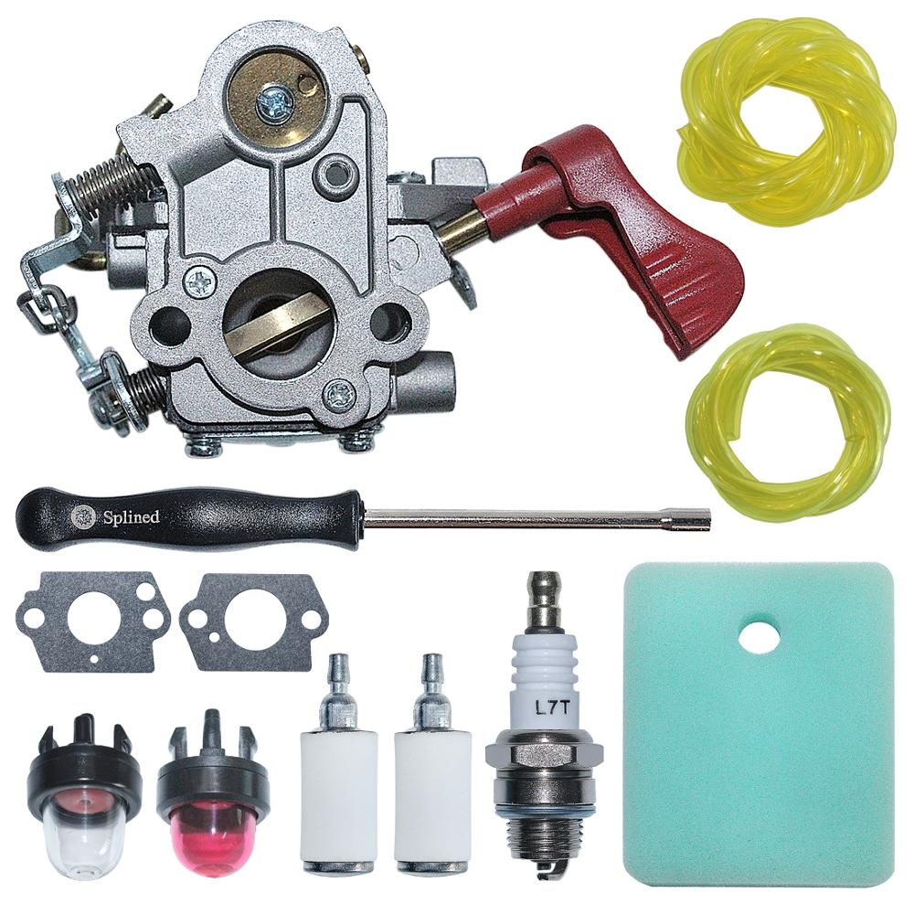 C1M-W44 Carburetor Carb with Air Fuel Filter Line Kit For Craftsman Poulan 33CC PP333 PP330  Gas Trimmer 545008042  ZAMA W44