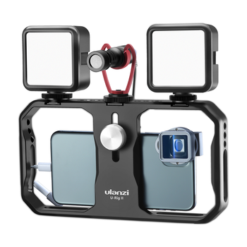ULANZI U-Rig II Smartphone Stabilizer Metal Phone Cage With 3 Cold Shoe Mount Handheld Phone Video Stabilizer For Video Blogger