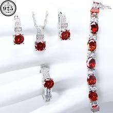 925 فضة زي الزفاف مجموعات مجوهرات النساء الأحمر الزركون أساور القلائد المعلقات أقراط الأحجار خواتم مجموعة هدية صندوق