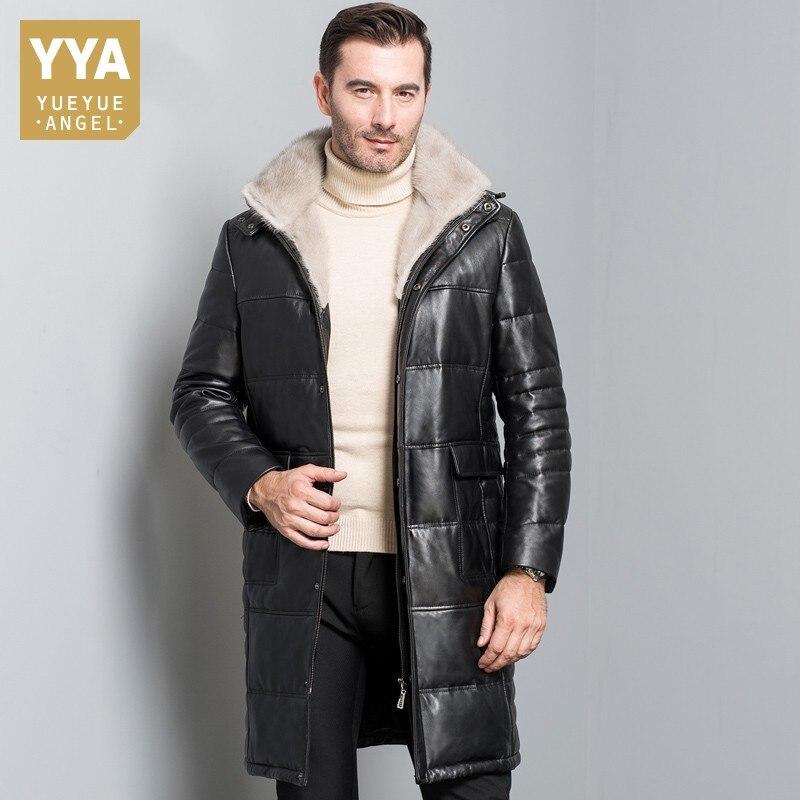 100% Sheepskin Coat For Men Long Mens Genuine Leather Jacket Mink Fur Collar Jackets Winter Overcoat Down Jacket Coats Plus Size
