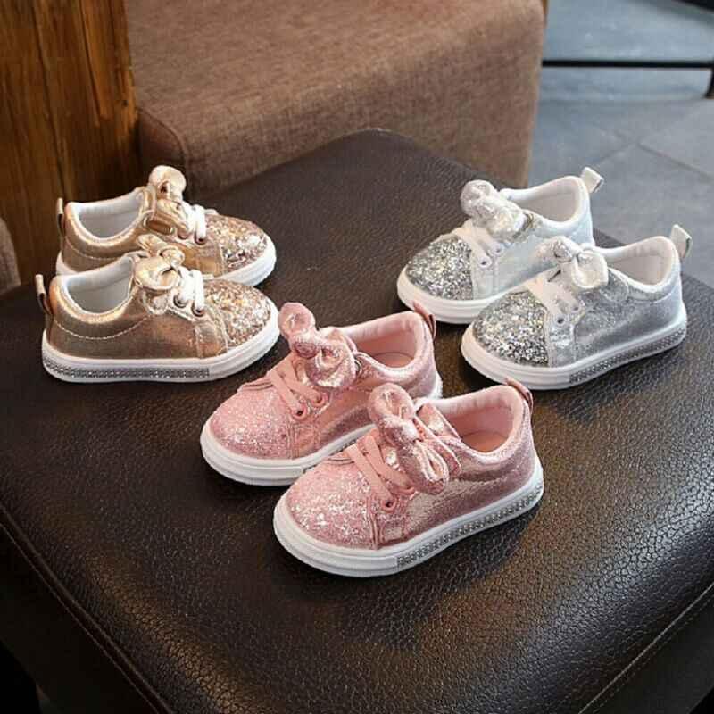 חמוד בנות נעליים יומיומיות סניקרס פעוטות בייבי בנות קשת נצנצים עריסה מגמת נעליים יומיומיות ילדים ילדים אנטי להחליק ורוד שמלת נעליים