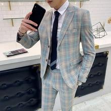 Designers New Tuxedo Groom Dress Ternos Masculino Wedding Suits For Men Plaid Suits Check Business Traje De Boda Mens Suits