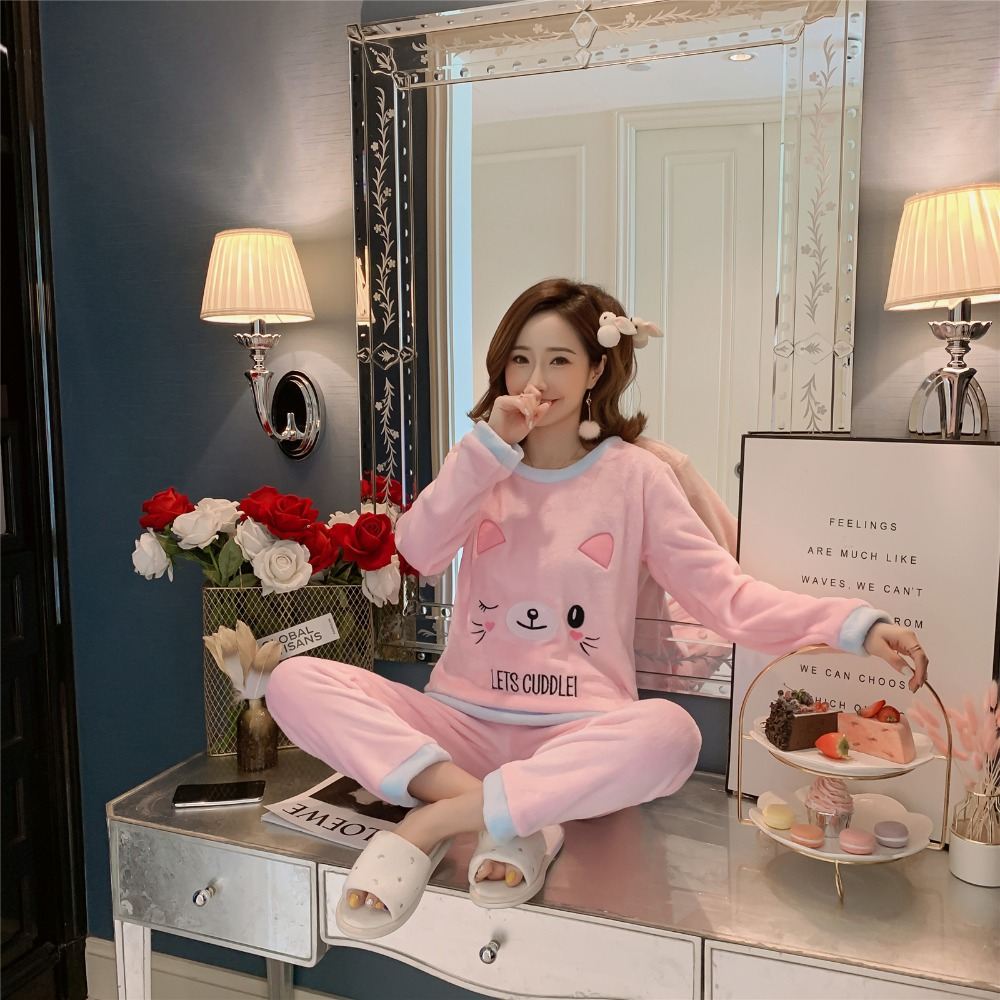 Betyline 2019 New Winter Pajamas For Women Sleepwear Warm Flannel Long Sleeves Pajamas Cute Animal Homewear Thick Homewear 142