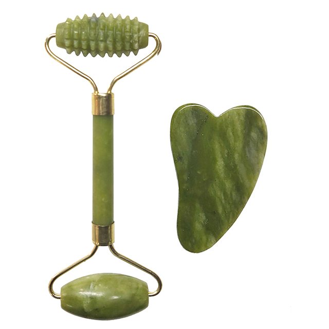 Natural Jade Roller Set Facial Massage Roller Jade Guasha Board Face Body Eyes Neck Massager Tool Skin Beauty Health Care 5