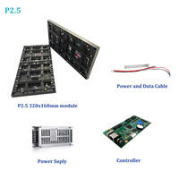 4pcs Indoor P2.5mm Led Module 320x160mm, 1pcs 5v40A power supply, 1pcs HD D15 WIFI Control Card, Full Color LED Display Screen