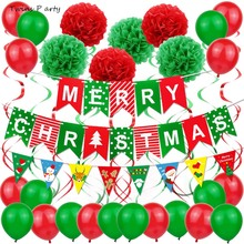 Twins Party Merry Christmas Balloons Set Santa Claus Balloon Red Green Decoration For Xmas