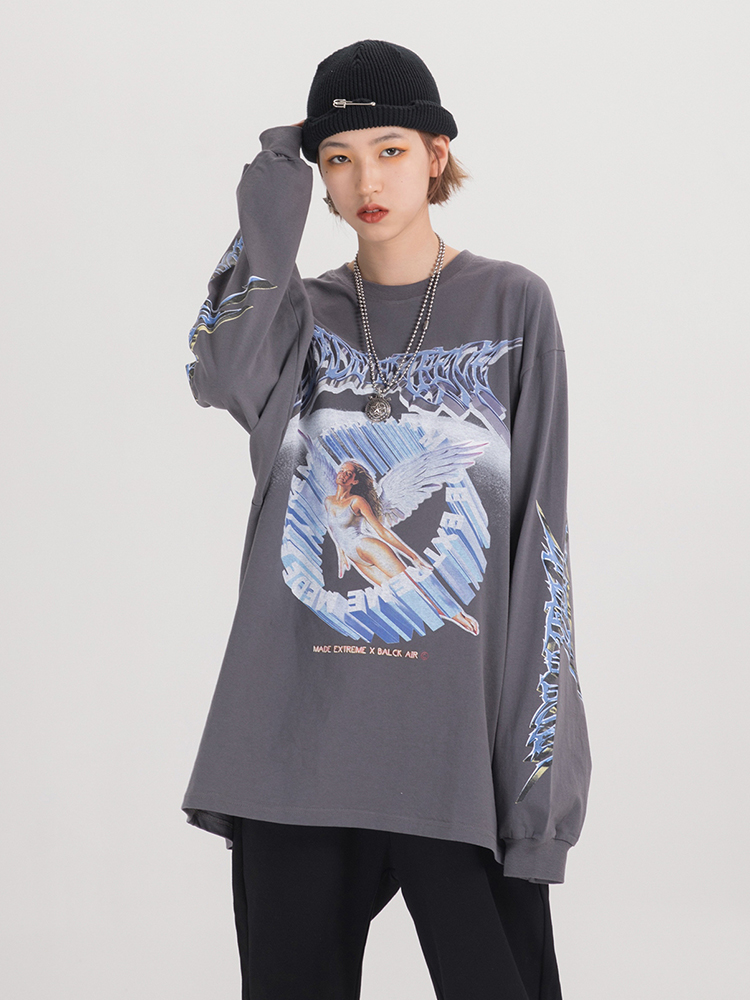 Graphic Tees Top Angel-Shirt Spring Women Clothing Streetwear Long-Sleeve Retro Fashion