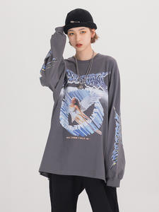 Graphic Tees Top Angel-Shirt Women Clothing Streetwear Long-Sleeve Retro Fashion Spring