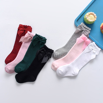 Lawadka Spring Youngsters Ladies Stockings Massive Bow Knee Excessive Lengthy Stocking Excessive High quality Vogue Lace Garments Accesories