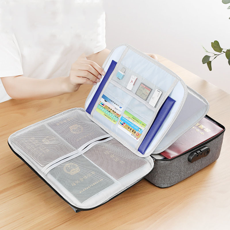 Portable Passport Package Bag Multi-layer Documents Organizer Storage Bag Waterproof Travel Storage Bag 1 Piece Card Handbag
