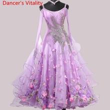 Nuevo traje de competición de danza estándar nacional, vestido Floral brillante de diamante, vestidos de baile, Vals, Jazz, Danza moderna, trajes de escenario