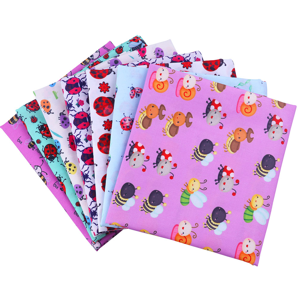 50*145cm insect pattern Polyester Cotton Fabric DIY Tissue Bedding Home Textile Sewing Doll Fabric High Breathable