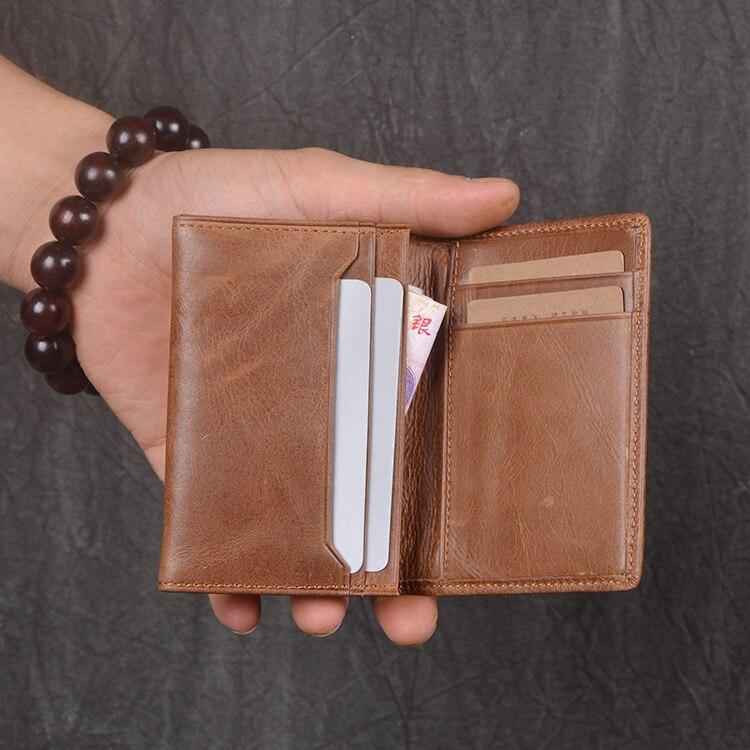 Men Genuine Leather Carrying Purse Women's Oil Skin Card Bit More Wallet Large-Volume Short Wallet