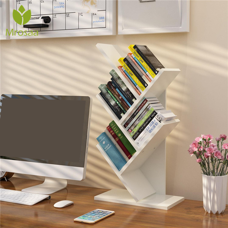 Bookshelf Desk Creative Study Bookcase Tree Shaped Furniture Decor Book Rack Multi-grid Storage Shelf Wooden Display Shelf