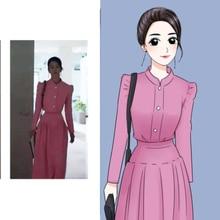 Женский комплект из двух предметов, корейская мода, розовая короткая куртка + длинная юбка, уличная одежда, комплект из 2 предметов, женские костюмы, весенняя одежда для женщин