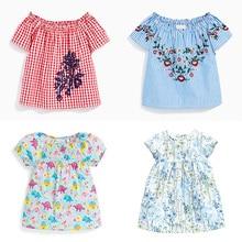 2020 Summer Girls T-Shirts Cotton Print Short Sleeve Girls T Shirt Striped Lattice Floral Cute Girl Beach T-Shirts For 2-7 Years