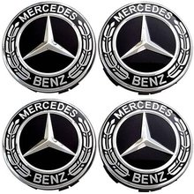 Embellecedor Para Llanta Compatible Con Mercedes Benz 75 Mm (4 Uds) Negro