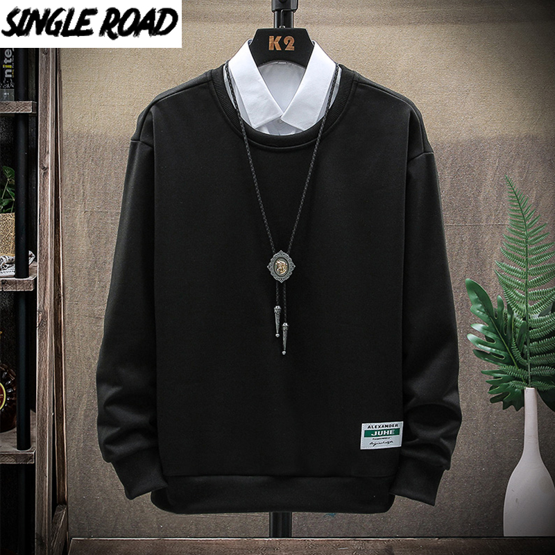 SingleRoad Crewneck Sweatshirt Men 2021 Plain Solid Vintage Streetwear Sportswear Hip Hop Oversized Black Hoodie Men Sweatshirts