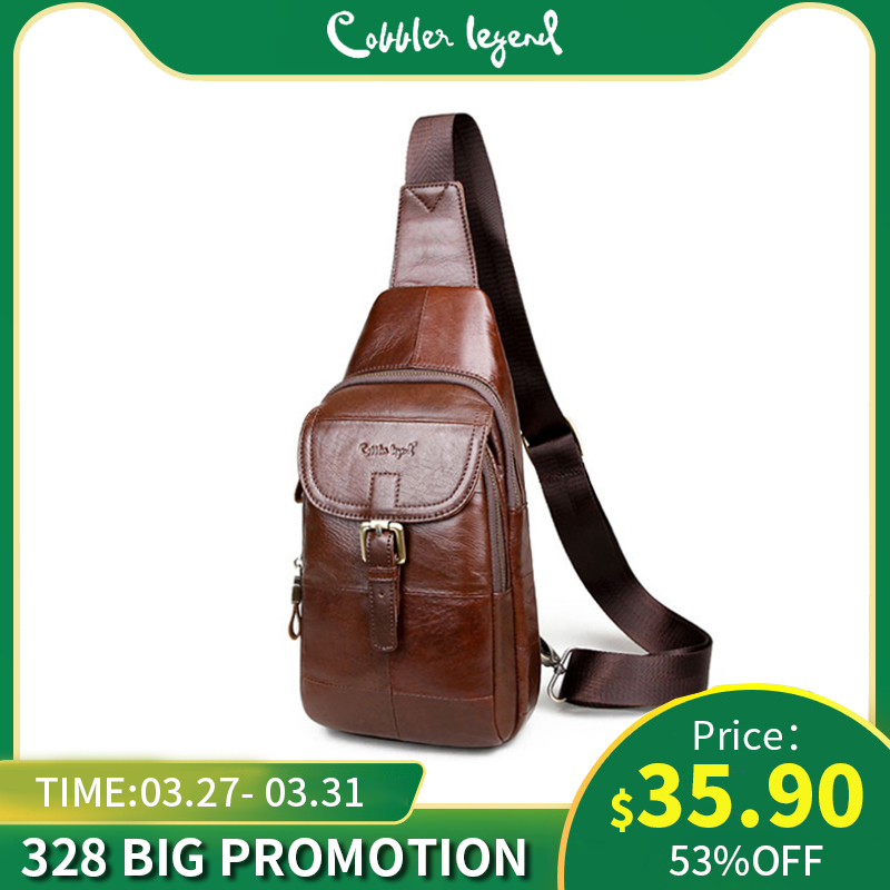 Cobbler Legend Genuine Leather Crossbody Bags Fashion Men Small Male Shoulder Bag Casual Men's Lock Chest Bags Brand Messenger
