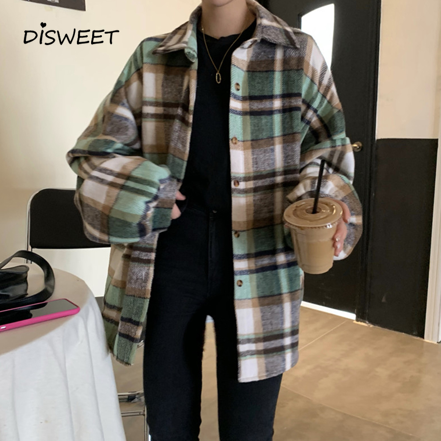 Korean Plaid Shirt Women'S Clothing Harajuku Single-Breasted Long Sleeved Autumn Shirt Ladies Lapel Large Sized Shirt Woman 2019