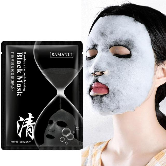 Korean Cosmetic Detox Oxygen Bubble Sheet Mask Moisturizing Bamboo Charcoal Black Face Mask Whitening Skin Care 1
