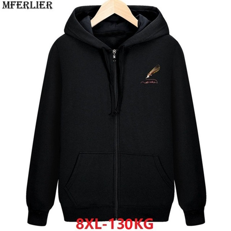 Winter Men Fleece Warm Hoodies Hooded Sweatshirts Zipper 8XL Plus Large Size Big 5XL 7XL Autumn Cotton Soprts Coat Sportwear 56