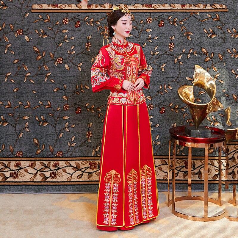 Exquise Suzhou broderie Phoenix Qipao Vintage Mandarin col robe de mariée Style chinois pleine longueur Hanfu vêtements - 5