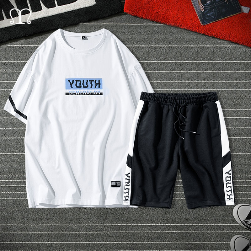 Casual Tracksuit Men Two Pieces Sets Short Sleeve Tshirt Shorts Summer Men's Clothes Pullover Shorts Suit Ropa Hombre Plus Size