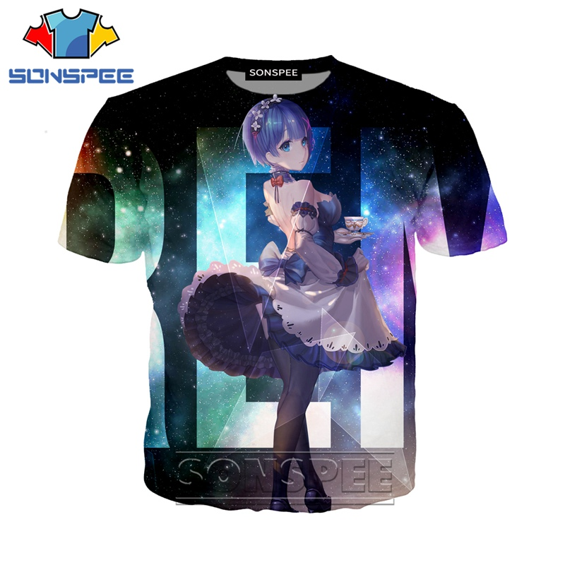 Anime 3d Print Hip Hop T Shirt Men Women Loli Game Fashion T-shirt Re Zero Rem Harajuku Top Tees Funny Shirts Homme Tshirt A270