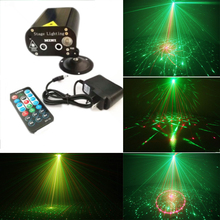купить Remote Control Mini 24 in 1 Pattern Effect R&G Audio Star Laser Projector Stage Disco DJ Club Bar KTV Family Party Light Show недорого