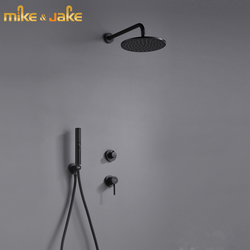 Bathroom Black Wall Shower Kit Concealed Double Function Shower Mixer Bathtub Shower Mixer Hot And Cold Black Wall Shower