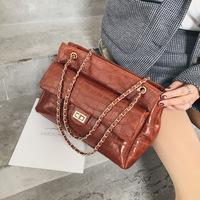 Winter Big Bag Women's 2018 New Style Europe And America Style Stone Pattern Shoulder Bag Simple Versatile Chain Shoulder Bag Fa