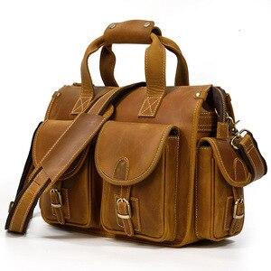 Винтажная сумка-мессенджер из натуральной кожи с карманами на молнии, сумка через плечо для ноутбука, сумка через плечо, мужской портфель