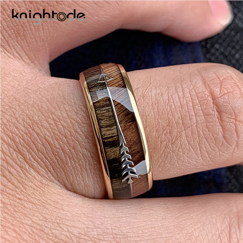 Image 3 - 8/6mm Fashion Rose Gold Tungsten Carbide Wood Rings Women Men Classic Silver Engagement Band And Steel Arrow Inlay Black Style-in Wedding Bands from Jewelry & Accessories