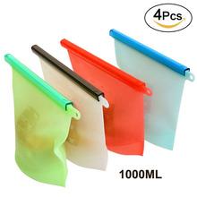 Reusable Silicone Food Freezer Storage Bag Kitchen Containers Refrigerator for Fruits Vegetables Meat Soup