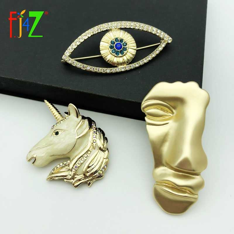 F.J4Z New Fashion Matted Alloy Human Face Enamel Unicorn Eye Brooches Pins for Women Gift Jewelry Accessories Bijoux