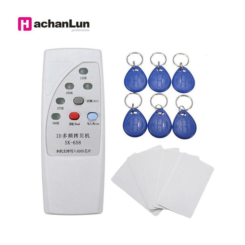Lector de tarjetas Rfid portátil, escritor Rfid portátil, lector de tarjetas 125KHz, escritor, copiadora duplicadora, copiadora RFID de 4 frecuencias, lector escritor Lector de fotocopiadora de tarjetas RFID NFC, duplicador inglés, programador de frecuencia 10 para tarjetas de ID IC y todas las tarjetas 125kHz + 5 uds. ID 125k
