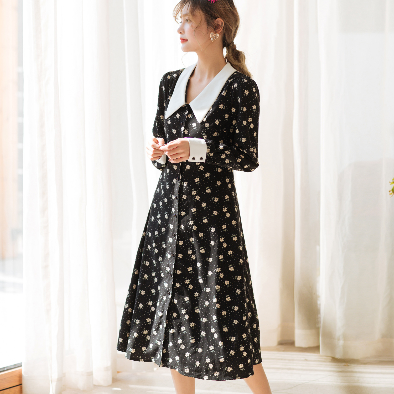 Vestido de camisa de impressão floral 2020 primavera nova manga longa midi vestidos de chiffon das mulheres do vintage branco elegante das senhoras roupas za - 3